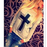 New Woman Retro Pullover Sexy Autumn Thin Cross Rivet Moleton Feminine Loose Sweatshirts Casual Long Sleeve Sportswear ic852730