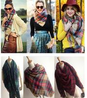 WJ04 Imitation Cashmere Star Style Cape Plaid Blanket Tartan Scarf 2014 Autumn Winter Scarves Women Brand Shawls Free Shipping