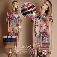 Cheap Bodhi Elephant Digital Print Silk(93%) Elastic Satin Fabric  118CM*100CM   19Mommie