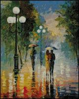 Top Quality counted cross stitch kit rain walk in the raining street, oil painting cross stitch