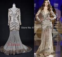 Fashion Sexy V-neck Vestidos 2014 Zuhair Crystal Beading Full Sleeve See Through Champagne Formal Mermaid Prom Dresses 2015