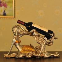 Free shipping, Fashion modern vintage mermaid wine rack, resin gift, home decor