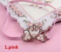 Baby Girls Chirstmas Gift Frozen Princess Crown Headband Chiffon Flowers Hair Band Free Shipping MOQ10pcs