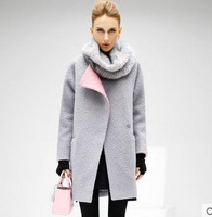 New fashion woolen coat long section hit color stitching thick woolen coat
