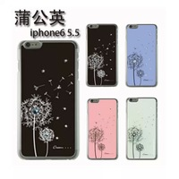 4 colors Dandelion Diamond Bling Plastic Hard Back Cover Case Skin For iPhone 6 Plus 5.5 inch Christmas Gift!!!