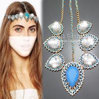 Bridal Gold Flapper Pear Crystal Blue Braided Chain Hair Crown Head Dress Band Jewelry  Free Shipping
