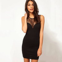 LRS008 NEW 2014 European and American perspective lace stitching package hip vest dress sexy halter dress Slim