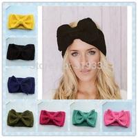 1pc Womens Crochet Bow Headband Ear Warmer Knit Headbands Retro Bow Headwear Crocheted Adult Bow Winter Headband WH072