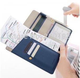 SMILE MARKET PU Anti-degaussing Passport Case Travel Long Organizer Wallet(China (Mainland))