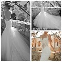 DWD19 Galia Lahav Mermaid See Through Tulle Appliqued 2015 Ball Gown Wedding Dress
