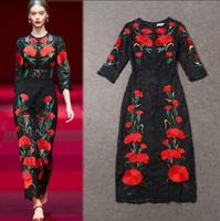 2015 Spring New runway dress vintage black lace dress half sleeve high-end flower embroidery dress plus size long maxi dress