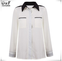 2015 Desigual Blusas Feminines Summer Casual Patchwork Brand Women Fashion Apricot Contrast Lapel Pockets Chiffon Blouse Shirt