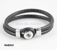 12pcs/lot Newest high quality NEW 12MM SNAP LEATHER BRACELET NAC0289