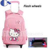 Hello Kitty Children School Bags Mochilas Kids Backpacks Wheel Trolley Luggage For Girls Backpack Mochila De Rodinhas infantil
