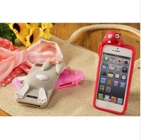 HOT SALE# 2015 fashional 3D cartoon Bunny Rabbit Rubber Soft Silicon Gel Case Covers For iPhone 5 5S