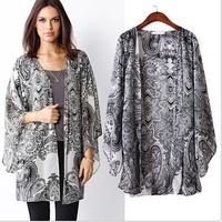 spring summer womens blouse chiffon kimono cardigan Paisley print shirts ladies tops/mujer ropa camisas femininas blusas de gasa