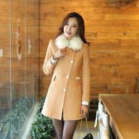 woolen coat womens overcoat 2015 woolen coat and long woolen small fragrant wind ladies fur collar coat Women