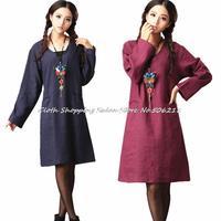 2014 new Autumn winter National Cotton dress ladies V collar pocket Linen Long sleeve Gowns One-piece Vintage Long Dress