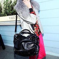 Bling Leopard Women Satchel Bag fashion Tote Messenger leather purse shoulder handbag Drop Free Shipping