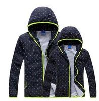 New Thin Windcheater Women & Men Windbreaker Breathable Climbing Sports Jacket Hooded Dot Print Sportswear
