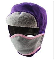 New arrival wholesale 3 size 52-63cm round winter sports waterproof hat add mask with flower smell worm fleece hat with mask