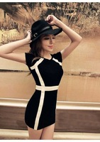 The new arrival. 2014 new colours summer dress classic self-cultivation bag hip temperament knitted leisure dress