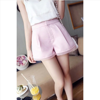Hot Sale 2014 Fashion Woman  high-end slim shorts Special texture yarn high waist shorts pumpkin 90% cotton free size 4colors