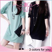 2014 new Fashion Summer dress women dresses half sleeve O-neck chiffon plus size casual short white dresses black green S-4XL