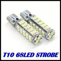 20PCS/LOT t10 strobe high quality Strobe flash w5w 68smd  t10 68led 3014smd car led Light Bulbs wholesale free shipping