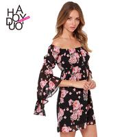 2015 Women's Sexy dress  Bohemian style collar witch asymmetric bell-shaped sleeves  printed chiffon dress  XS-XXL