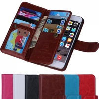 2 in 1 Crazy Horse PU Leather Case Cover For iphone 6 4.7 inch Removeable Back Cover Phone Bag Wallet with 9 Card Holder