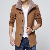 High quality! 2014 Men new winter Lambs wool woolen coat Fashion stand collar Slim long sections men jacket coat 3 colors M~4XL