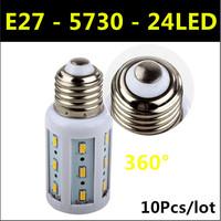 2014 Ultrabright SMD 5730 LED Lamp E27 5W 24leds AC 220V-240V Warm White/White Corn Bulb Light Free Shipping 10pcs/lot