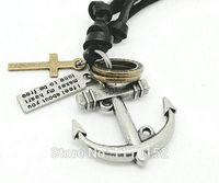 hot -genuine cow leather men necklace, punk retro cross anchor pendants necklace,2013 fashion jewelry necklace