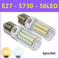 Hot 5pcs/lot Ultrabright SMD 5730 Energy Saving LED Lamp E27 12W 56led AC 220V -240V Warm White/White Christmas Lights Corn Bulb
