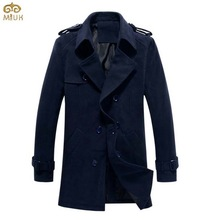 Solid Large Size Trench Coat  Men M~5XL Black Navy Cotton Slim Fit TLong Coat Men XXL XXXL Turn-down Collar Formal Trench     (China (Mainland))