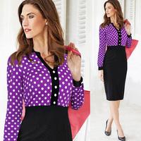 Newest 2015 Spring Women Elegant Dot V-Neck Long Sleeve Pencil Casual Dress Knee-Length Party Dress S-XXL