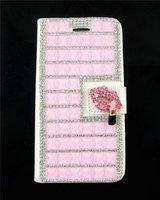2015 Rhinestone Crystal Diamond Luxury Sexy Bling Shining Lipstick Fox Fur Flip Leather Case Cover For Apple Iphone 4 5 5c