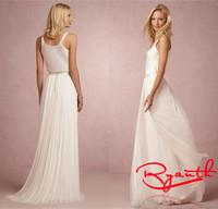 RBW198 Vestido De Noiva Princess A-Line Sleeveless Sweep Train Wedding Dresses 2015 White/Ivory Wedding Gowns Bride Dresses