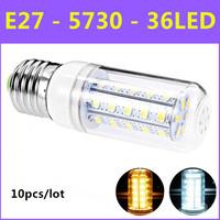 HOT 10pcs/lot  2014 Ultrabright SMD 5730 Energy Saving LED Lamp E27 10W 240V 36leds Warm White/White Corn Bulb Christmas Lights