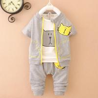 4set/lot 2015 spring kids sets girls boys sets 3pcs vest+tees+pants children sets wholesale panya t563