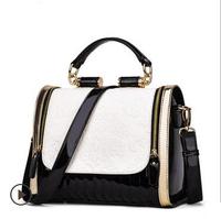 2014 fashion women PU leather handbag Vintage patchwork shoulder bag messenger bags causal bolsas femininas Free Shipping WXT323