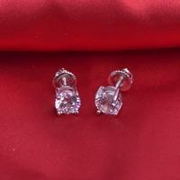 LSE933 Round Cut Zircon Stud Earrings 925 sterling silver ScrewBack women earring 5mm, free shipping