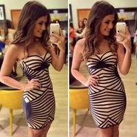 2015 New Fashion Women Casual Dress Patchwork Stripe Dress Tube Top Dress Female Vestido
