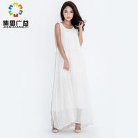 summer female original design plus size clothing  women's white beach long lace dress ruffle chiffon one-piece dress long skirt