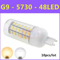 10pcs/lot Ultrabright SMD 5730 Energy Saving LED Lamp Christmas Light G9 9W 48LED AC 220V-240V Warm White/White Corn Bulb
