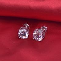 LSE936 SCREW BACK Earrings Large 8mm Round CZ Studs 925 sterling silver earrings 8mm, free shipping