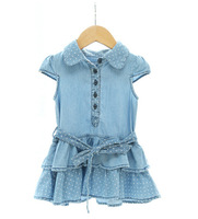 2015 summer dresses girl dress baby girl dresses dot denim baby dress children dress