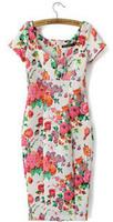 2015 spring summer new Europe and America Women casual Bohemian floral printed beach chiffon dress #QJJ386