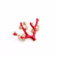 Fashion fashion accessories red tree branches style women's brooch